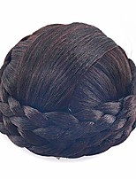 cheap -small sizesynthetic hair chignon bun donut braided hairpieces scrunchie clip in hair bun extensions straight updo for wedding party costume women beauty 6colors avilable (dark brown/dark auburn brown)