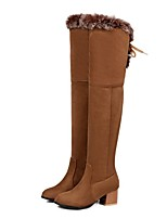 cheap -Women's Boots Cuban Heel Round Toe Basic Daily Feather Solid Colored Suede Over The Knee Boots Walking Shoes Dark Brown / Black