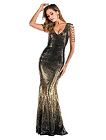 cheap -Mermaid / Trumpet Color Block Sexy Party Wear Formal Evening Dress V Neck Sleeveless Floor Length Sequined with Sequin 2020
