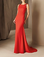 cheap -Mermaid / Trumpet Beautiful Back Sexy Wedding Guest Formal Evening Dress Halter Neck Sleeveless Court Train Satin with Beading 2020