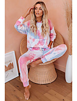 cheap -Women's Basic Tie Dye Daily Two Piece Set Hooded Hoodie Pant Print Tops