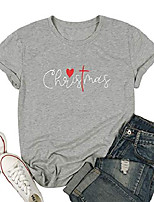 cheap -women christmas shirt funny letter print blessed t shirt short sleeve graphic tops tees