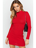 cheap -Women's Sweater Jumper Dress Short Mini Dress - Long Sleeve Solid Color Backless Patchwork Fall Sexy Going out Slim 2020 Red S M L XL