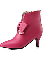 cheap -Women's Boots Stiletto Heel Pointed Toe Classic Daily Bowknot Solid Colored PU Booties / Ankle Boots White / Black / Burgundy