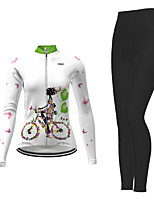 cheap -21Grams Women's Long Sleeve Cycling Jersey with Tights Winter Polyester Violet Navy Blue Blue Floral Botanical Bike Jersey Tights Clothing Suit Breathable Quick Dry Moisture Wicking Back Pocket Sports