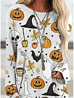 cheap -Women's Shift Dress Short Mini Dress - Long Sleeve Print Patchwork Print Spring Fall Casual Loose 2020 White S M L XL XXL 3XL
