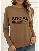 cheap -Women's T-shirt Letter Long Sleeve Print Round Neck Tops Slim Basic Basic Top Blue Red Green