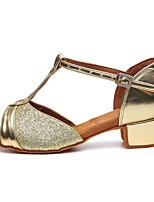 cheap -Girls' Latin Shoes Heel Thick Heel Faux Leather Buckle Sequin Gold / Silver