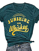 cheap -women's basic styleshort sleeve t-shirt women beach funny letters print summer tops tees