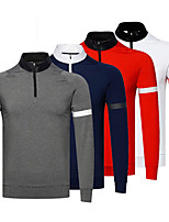 cheap -Men's Golf Polo Shirts Long Sleeve Autumn / Fall Spring Winter UV Sun Protection Breathable Quick Dry Cotton Half Zip Solid Color White Red Royal Blue Gray / Stretchy