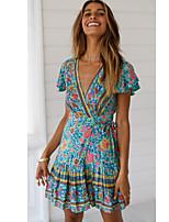 cheap -Women's A-Line Dress Short Mini Dress - Short Sleeve Print Print Summer V Neck Casual Cotton Slim 2020 Red Wine Green Dusty Blue Beige Light Blue S M L XL XXL 3XL 4XL 5XL