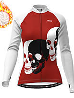 cheap -21Grams Women's Long Sleeve Cycling Jacket Winter Fleece Polyester White Black Skull Funny Bike Jacket Top Mountain Bike MTB Road Bike Cycling Thermal Warm Fleece Lining Breathable Sports Clothing