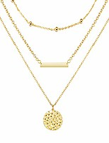 cheap -bohemian golden coin multilayer necklace retro layered handmade woman choker collar necklace jewelry gift (r :layer bar coin - gold)