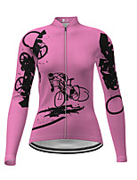 cheap -21Grams Women's Long Sleeve Cycling Jersey Winter Polyester Fuchsia Novelty Bike Jersey Top Mountain Bike MTB Road Bike Cycling Quick Dry Back Pocket Sports Clothing Apparel / Micro-elastic