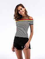 cheap -Women's T-shirt Striped Mesh Patchwork Off Shoulder Tops Basic Basic Top White Black Dark Gray
