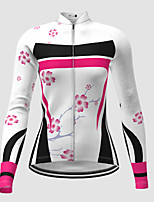 cheap -21Grams Women's Long Sleeve Cycling Jersey Winter Polyester White Novelty Floral Botanical Bike Jersey Top Mountain Bike MTB Road Bike Cycling Quick Dry Back Pocket Sports Clothing Apparel