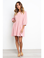 cheap -Women's A-Line Dress Knee Length Dress - Half Sleeve Solid Color Ruched Spring Summer Casual Lantern Sleeve Loose 2020 Blushing Pink Beige S M L XL