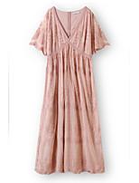 cheap -Sheath / Column Minimalist Boho Holiday Party Wear Dress V Neck Short Sleeve Ankle Length Lace with Pleats 2020