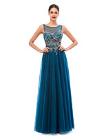 cheap -A-Line Elegant Sexy Engagement Formal Evening Dress Illusion Neck Sleeveless Floor Length Sequined with Sequin 2020