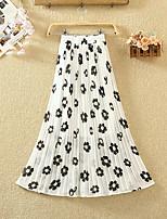cheap -Women's Daily Wear Basic Midi Skirts Floral