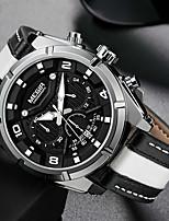 cheap -men's casual chronograph quartz watches fashion leather strap luminous hands watch man luxury military sports wristwatch white