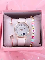 cheap -Kids Quartz Watches Quartz Modern Style Stylish Casual Chronograph PU Leather Black / White / Pink Analog - White Black Blushing Pink