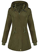 cheap -4how women's military anorak rain jacket lightweight casual stylish hooded water resistant utility coat army green size 12