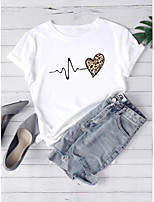 cheap -Women's T-shirt Leopard Heart Graphic Prints Print Round Neck Tops 100% Cotton Basic Basic Top White
