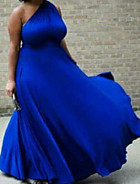 cheap -A-Line Sexy Plus Size Wedding Guest Formal Evening Dress One Shoulder Sleeveless Court Train Satin with Pleats 2020
