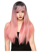 cheap -Cosplay Wig Dark Root Pink Straight With Bangs Wig Very Long Pink Synthetic Hair Women's Anime Cosplay Exquisite Pink