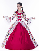cheap -Maria Antonietta Retro Vintage Rococo Vacation Dress Dress Masquerade Women's Lace Satin Costume Red Vintage Cosplay Party Prom Long Sleeve Floor Length Ball Gown Plus Size
