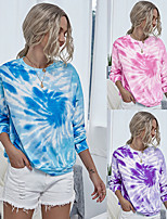 cheap -Women's Sweatshirt Tie Dye Crew Neck Sport Athleisure Pullover Long Sleeve Warm Soft Oversized Comfortable Everyday Use Causal Exercising General Use