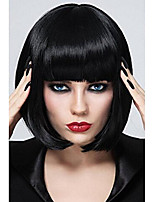 cheap -short bob wigs black wig for women with bangs straight synthetic wig natural as real hair 12'' bu027bk