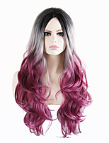 cheap -Synthetic Wig Body Wave Middle Part Wig Long Black / Purple Synthetic Hair 28 inch Women's Party Comfortable Middle Part Black Purple