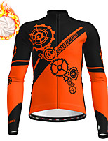 cheap -21Grams Men's Long Sleeve Cycling Jacket Winter Fleece Polyester White Blue Orange Gear Bike Jacket Top Mountain Bike MTB Road Bike Cycling Fleece Lining Warm Back Pocket Sports Clothing Apparel