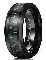 cheap -gentleman 8mm black tungsten carbide ring green carbon fiber polished finish comfort fit 11.5