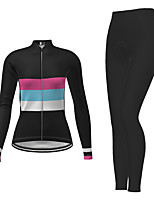 cheap -Women's Long Sleeve Cycling Jersey with Tights Black Bike Breathable Quick Dry Moisture Wicking Sports Letter & Number Mountain Bike MTB Road Bike Cycling Clothing Apparel / Micro-elastic
