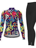 cheap -21Grams Women's Long Sleeve Cycling Jersey with Tights Winter Polyester Purple Novelty Skull Bike Jersey Tights Clothing Suit Breathable Quick Dry Moisture Wicking Back Pocket Sports Novelty Mountain