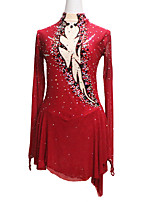 cheap -Figure Skating Dress Women's Girls' Ice Skating Dress Black / Red Glitter Patchwork Spandex High Elasticity Competition Skating Wear Handmade Crystal / Rhinestone Long Sleeve Ice Skating Winter