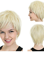 cheap -Synthetic Wig kinky Straight Pixie Cut With Bangs Wig Short Blonde Synthetic Hair 12 inch Women's Fashionable Design Easy to Carry Cool Blonde