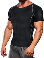 cheap -workout suits for men weight loss t shirts waist trainer sweat top sauna hot gym jacket body shaper (black, xl)