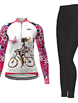 cheap -21Grams Women's Long Sleeve Cycling Jersey with Tights Winter Polyester White Novelty Bike Jersey Tights Clothing Suit Breathable Quick Dry Moisture Wicking Back Pocket Sports Novelty Mountain Bike