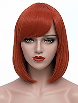 cheap -short coral bob hair wigs straight cosplay wig with bangs for women girls bu029cr