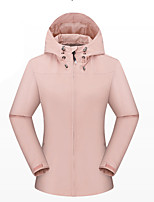 cheap -Women's Hiking Jacket Winter Outdoor Solid Color Thermal Warm Waterproof Windproof Breathable Jacket Full Length Hidden Zipper Climbing Camping / Hiking / Caving Traveling Cream / Black / Purple