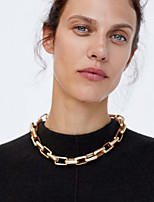 cheap -Women's Choker Necklace Chain Necklace Rolo Vertical / Gold bar Precious Joy Lucky Blessed Luxury Punk Trendy Fashion Alloy Gold 38 cm Necklace Jewelry 1pc For Gift Masquerade Prom Street Festival