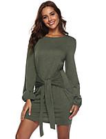 cheap -Women's Sheath Dress Short Mini Dress - Long Sleeve Solid Color Bow Spring Fall Casual Lantern Sleeve 2020 Black Purple Army Green S M L XL XXL