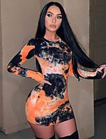 cheap -Women's A-Line Dress Short Mini Dress - Long Sleeve Tie Dye Patchwork Print Spring Sexy Club 2020 Rainbow S M L