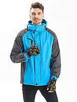 cheap -Men's Hiking Jacket Winter Outdoor Solid Color Windproof Fleece Lining Breathable Warm Jacket Full Length Hidden Zipper Hunting Ski / Snowboard Climbing Yellow / Red / Orange / Dark Blue / Light Blue