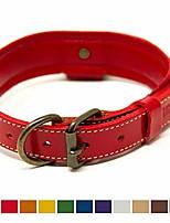 cheap -deluxe padded genuine full grain leather collar (medium, red)