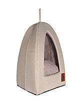 cheap -cat dog tent triangle pet bed removable cushion cover two way conversion medium and large (x-large, beige linen)